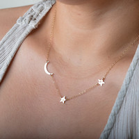 Gold Moon Star Necklace, Crescent Moon Necklace, Personalized Jewelry Gift, Dainty Necklace