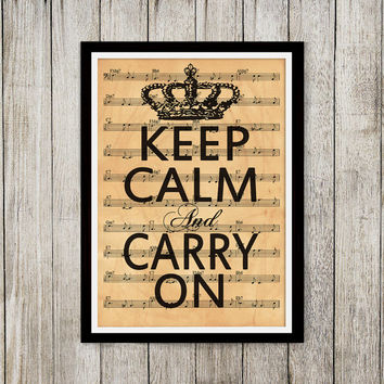 Aged art Keep calm poster Note sheet print Old paper print NP015