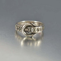 Antique Silver Buckle Ring Mourning Jewelry