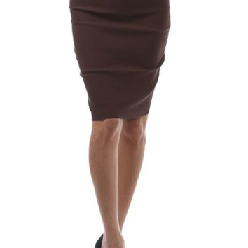 Fitted Bodycon Front Shirring Detail Zipper Back Strech Pencil Midi Skirt