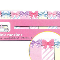 Pastel Ribbon Bow - Sticky Post It Memo Note Pad 120sheets SS318
