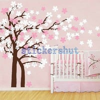 Nursery cherry blossom wall decal baby nursery tree decals family tree flower decal pink white girl wall decor Cherry Blossom Tree