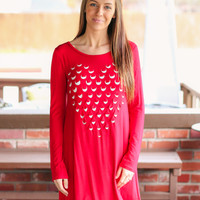 Love You to Pieces Dress - Red