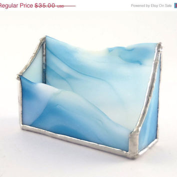 Blue and White Stained Glass Business Card Holder OOAK