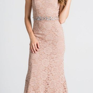 Strapless Fit and Flare Long Formal Dress Embellished Waist Taupe