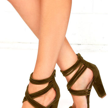 Sassy Swagger Olive Suede Caged Heels