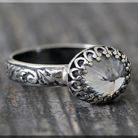 READY to SHIP, Sterling Silver Cubic Zirconia Ring, SIZE 6.5, April Birthstone Ring, Oval C Z Ring, Floral Cocktail Ring, Stacking Ring,