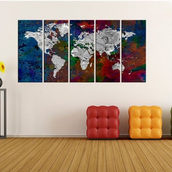 Colorfull world map wall art canvas print, extra large wall art, world map wall art, large world map decor, world map home decor No:6S76