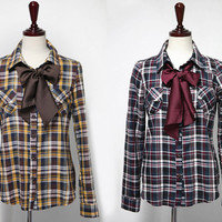 Long Sleeves Check and Plaids Bow Tie Accent Blouse Shirt