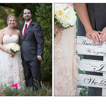Rustic Wedding Signs, Outside directional wedding arrows, customized bride & groom names, date, I Do and We Did signs, outside directiona