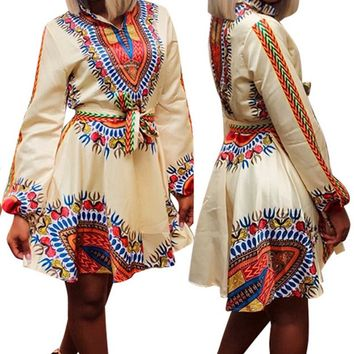 Ethnic Totem Print Dashiki Vintage Dress Traditional African Clothing