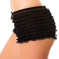 Intimates Boutique Boy Shorts Lace Ruffle in Black