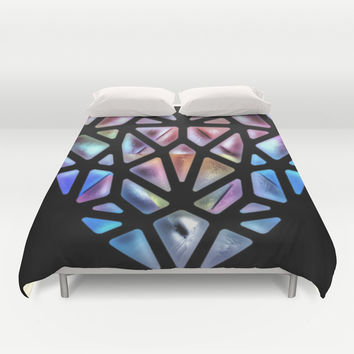 Stained Glass Heart Duvet Cover by Laura Santeler