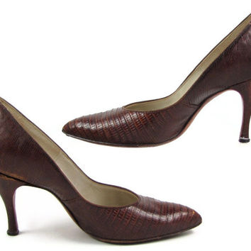 "Real Reptile - Vintage 1950s Genuine Alligator Lizard Pumps by Marquise, Extra High 3.5"" Stiletto Heel Shoes, Size 7-7.5"
