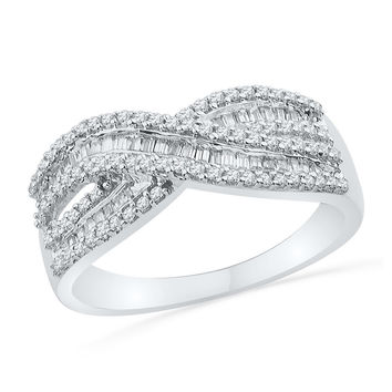 10kt White Gold Womens Round Baguette Diamond Crossover Band Ring 1/2 Cttw 101493