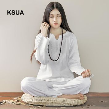 Embroidery Yoga Set Linen Yoga Shirt Pants Zen Meditation Clothing Woman Sportswear Set Large Size Gym Yoga Suit Tracksuit