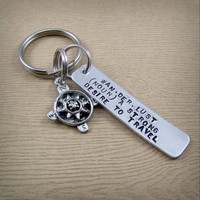 Wanderlust Definition Compass Keychain