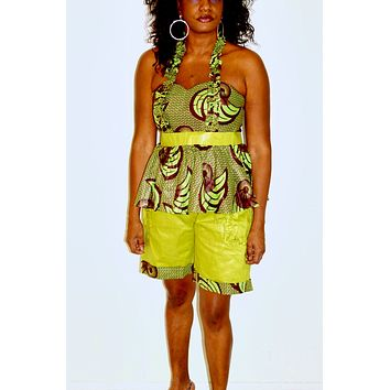 African Inspired Green Pants And Top Set