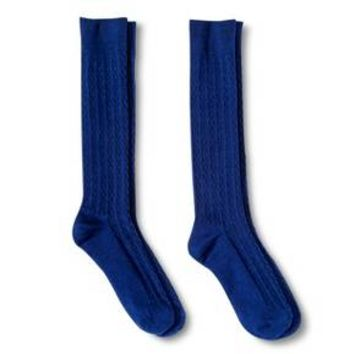 Girls' 2-Pack Knee High Cable Socks - Nightfall Blue 5.5-8.5 : Target