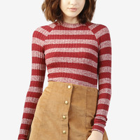 Katryna Striped Mock Neck Sweater Top - Maroon