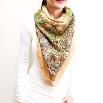 Scarf With Flowers, Floral Cotton Scarf, Multicolor Scarf, Square Scarf, Brown Green Light brown