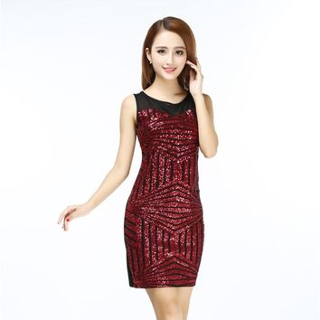 Night Club Slim Sequin Party Dress Geometric Sleeveless Back Cut Out Lace Up Women Body con Mini Dress