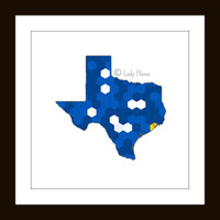 PRINT - State of Texas Map - hexagonal blue and gold geometric art, blue and yellow USA map poster, home decor wall art, dorm decor print