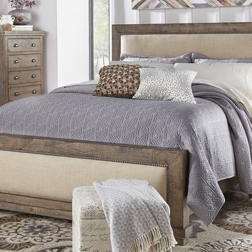 Willow Casual Complete King Upholstered Bed Weathered Gray