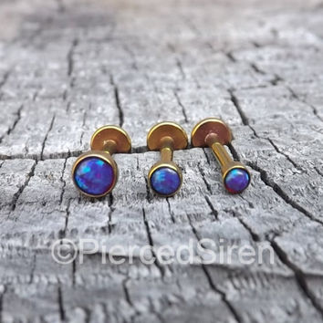 Tragus helix earring cartilage conch stud opal triple forward helix 16g titanium anodized rose gold purple opals body piercing labrets one