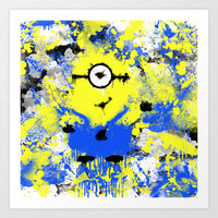 Splatter Painted Minion  Art Print by Trinity Bennett