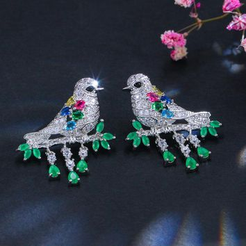 Animal Shape Elegant Colorful Cubic Zirconia Sterling Silver 925 Bird Drop Earrings