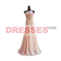 Pink homecoming dresses,long prom dress,long bridesmaid dress,long formal dress,chiffon evening dress,long homecoming dress