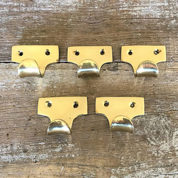 Wall Hook 5 Brass Hooks Small Wall Hook Decorative Wall Hook Coat Hook Towel Hook Farmhouse Chic Wall Hook Mid Century Brass Hook