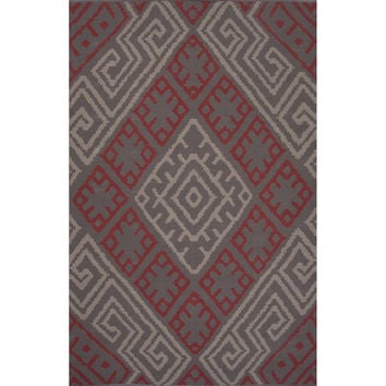 Flatweave Tribal Pattern Pink/Red Cotton Area Rug (5x8)
