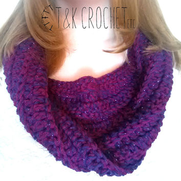 Crochet Sparkly Chunky Twisted Cowl in Boysenberry and Royal Purple