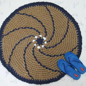 Spiral Jute Throw Rug - Accent Rug - Primitive Decor - Indoor Outdoor Rug - Round Mat - All Natural Vegan Rug - Pinwheel - Purple Trim