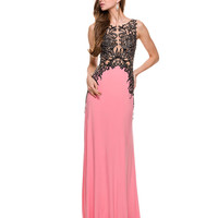 Coral & Black Lace Embellished Dress 2015 Prom Dresses