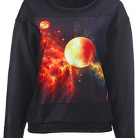 """ROMWE   """"Planet"""" Black Pullover, The Latest Street Fashion"""