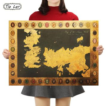 TIE LER Game of Thrones Map Vintage Kraft Paper Poster Interior Bar Cafe Decorative Painting Wall Sticker 70X51cm