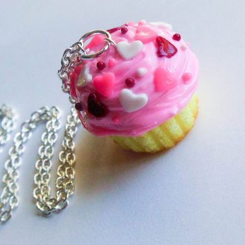 polymer clay valentine's day cupcake necklace by ScrumptiousDoodle