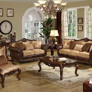 Acme 50155 2 pc remington collection two tone fabric and bonded leather upholstered sofa and love seat with wood trim accents