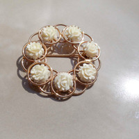 Vintage 12K Gold Filled rose brooch