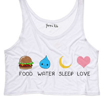 Food Water Sleep Love Crop Tank Top