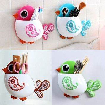 DCCKU7Q Super Deal Cute Cartoon Toothbrush Holder Bathroom Set 2015 Toothbrush Holder Set Family Set Wall Mount Rack Bath HYM17&06