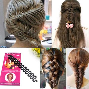 Women Lady French Hair Braiding Tool Braider Roller Hook With Magic Hair Twist Styling Bun Maker Hair Band Accessories