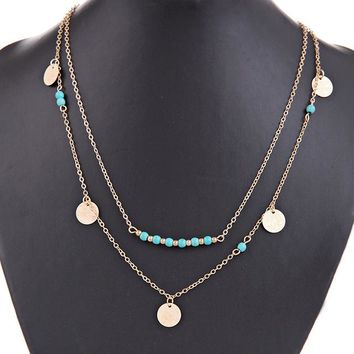 Simple Silver and gold coin kalla it e bead double chain necklace for women