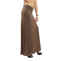 New Fold Over High Waist Stretch Solid Color Maxi Long Skirt Size S M L MOA238