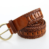 New Arrival Man Women Belts Donded Leather Waist Belt Fashion Style Hand Made Braided Belt All-Matched Wide Webbing Belts 3BW9