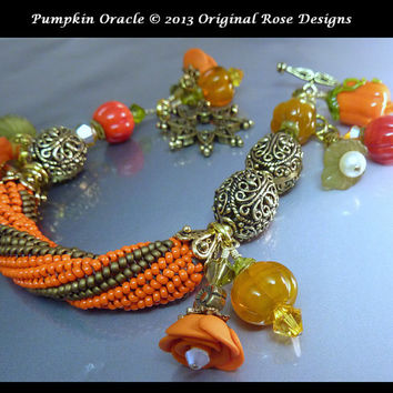 Pumpkin Oracle- Fall Lampwork Charm bracelet -twisted herringbone seed bead tube-SRAJD, BHV