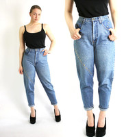 Vintage 80's 90's Blue Washed Out Studded Mom Jeans High Waisted  - Small